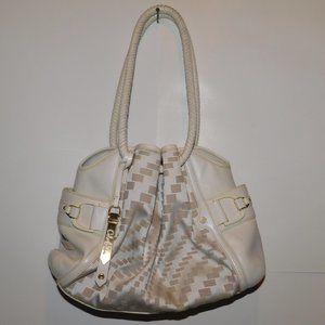 Cole Haan White Handbag Woven Handles Hobo Purse
